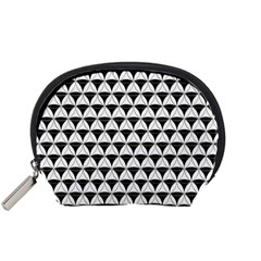 Diamond Pattern White Black Accessory Pouches (small)  by Cveti