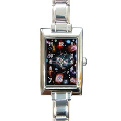 Galaxy Nebula Rectangle Italian Charm Watch by Celenk