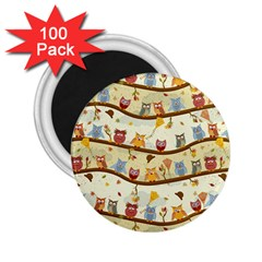 Autumn Owls Pattern 2 25  Magnets (100 Pack)  by Celenk