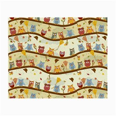 Autumn Owls Pattern Small Glasses Cloth by Celenk