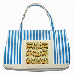 Autumn Owls Pattern Striped Blue Tote Bag by Celenk