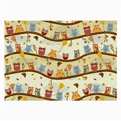 Autumn Owls Pattern Large Glasses Cloth (2 Side) by Celenk