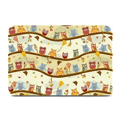 Autumn Owls Pattern Plate Mats by Celenk