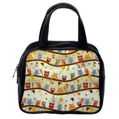 Autumn Owls Pattern Classic Handbags (one Side)