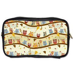 Autumn Owls Pattern Toiletries Bags 2 Side