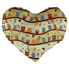 Autumn Owls Pattern Large 19  Premium Heart Shape Cushions by Celenk