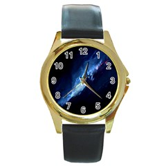 Nebula Round Gold Metal Watch by Celenk