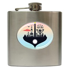 Future City Hip Flask (6 Oz) by Celenk