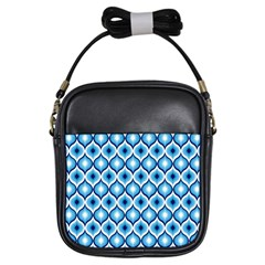 Blue Leaves Eyes Girls Sling Bags by Cveti