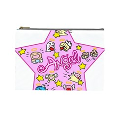 Pink Angel Star Cosmetic Bag (large)  by Celenk