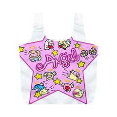Pink Angel Star Full Print Recycle Bags (m)  by Celenk
