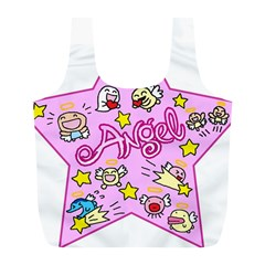 Pink Angel Star Full Print Recycle Bags (l)  by Celenk