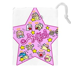 Pink Angel Star Drawstring Pouches (xxl) by Celenk