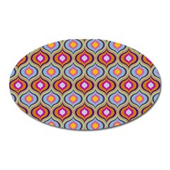 Blue Leaves Eyes Pattern Oval Magnet by Cveti