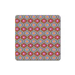 Blue Leaves Eyes Pattern Square Magnet by Cveti
