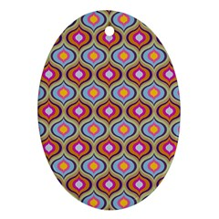 Blue Leaves Eyes Pattern Oval Ornament (two Sides) by Cveti