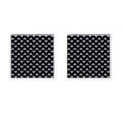 Wave Pattern Black Grey Cufflinks (square) by Cveti