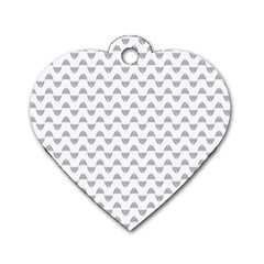 Wave Pattern White Grey Dog Tag Heart (one Side) by Cveti