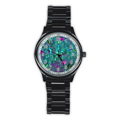 Melted Fractal 1c Stainless Steel Round Watch by MoreColorsinLife