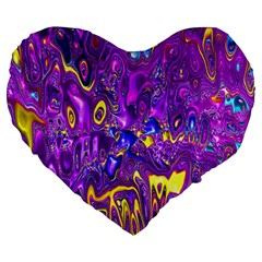 Melted Fractal 1a Large 19  Premium Flano Heart Shape Cushions by MoreColorsinLife