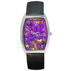Melted Fractal 1a Barrel Style Metal Watch by MoreColorsinLife