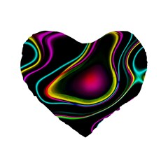 Vibrant Fantasy 5 Standard 16  Premium Flano Heart Shape Cushions by MoreColorsinLife