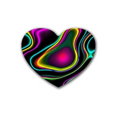 Vibrant Fantasy 5 Rubber Coaster (heart)  by MoreColorsinLife