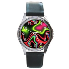 Vibrant Fantasy 1b Round Metal Watch by MoreColorsinLife