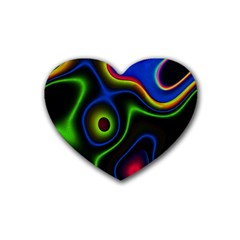 Vibrant Fantasy 6 Rubber Coaster (heart)  by MoreColorsinLife