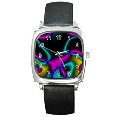 Vibrant Fantasy 3 Square Metal Watch by MoreColorsinLife