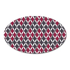 Rhomboids Pattern Red Grey Oval Magnet by Cveti
