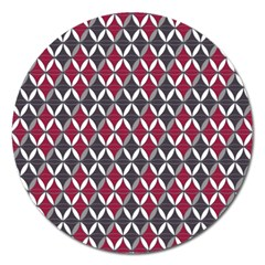 Rhomboids Pattern Red Grey Magnet 5  (round)