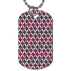 Rhomboids Pattern Red Grey Dog Tag (one Side) by Cveti