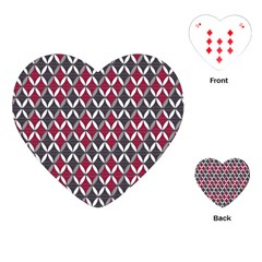 Rhomboids Pattern Red Grey Playing Cards (heart)  by Cveti