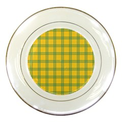Green Stripes Porcelain Plates by berwies
