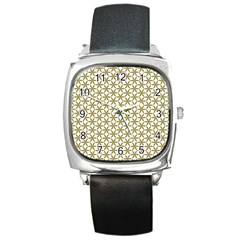 Flower Of Life Pattern Cold White Square Metal Watch by Cveti