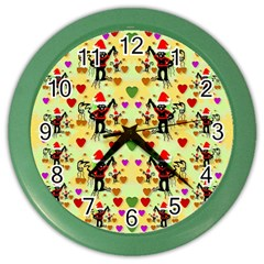 Santa With Friends And Season Love Color Wall Clocks by pepitasart