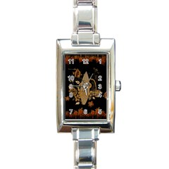 Hawaiian, Tropical Design With Surfboard Rectangle Italian Charm Watch by FantasyWorld7