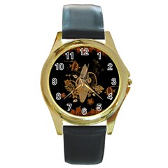 Hawaiian, Tropical Design With Surfboard Round Gold Metal Watch by FantasyWorld7