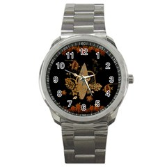 Hawaiian, Tropical Design With Surfboard Sport Metal Watch by FantasyWorld7