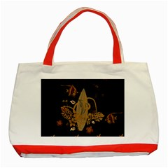 Hawaiian, Tropical Design With Surfboard Classic Tote Bag (red) by FantasyWorld7
