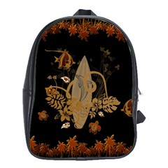 Hawaiian, Tropical Design With Surfboard School Bag (xl) by FantasyWorld7