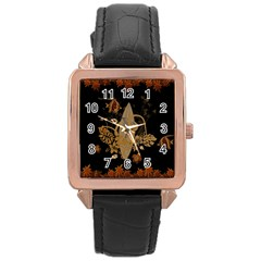 Hawaiian, Tropical Design With Surfboard Rose Gold Leather Watch  by FantasyWorld7