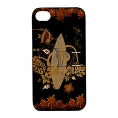Hawaiian, Tropical Design With Surfboard Apple Iphone 4/4s Hardshell Case With Stand by FantasyWorld7