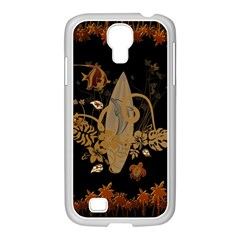 Hawaiian, Tropical Design With Surfboard Samsung Galaxy S4 I9500/ I9505 Case (white) by FantasyWorld7