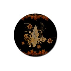 Hawaiian, Tropical Design With Surfboard Magnet 3  (round) by FantasyWorld7
