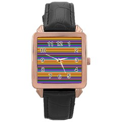 Pattern Rose Gold Leather Watch  by gasi