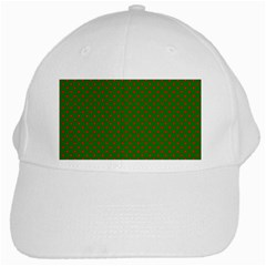 Red Stars On Christmas Green Background White Cap by PodArtist