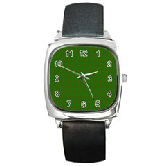 Red Stars On Christmas Green Background Square Metal Watch by PodArtist