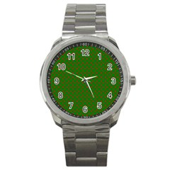 Red Stars On Christmas Green Background Sport Metal Watch by PodArtist